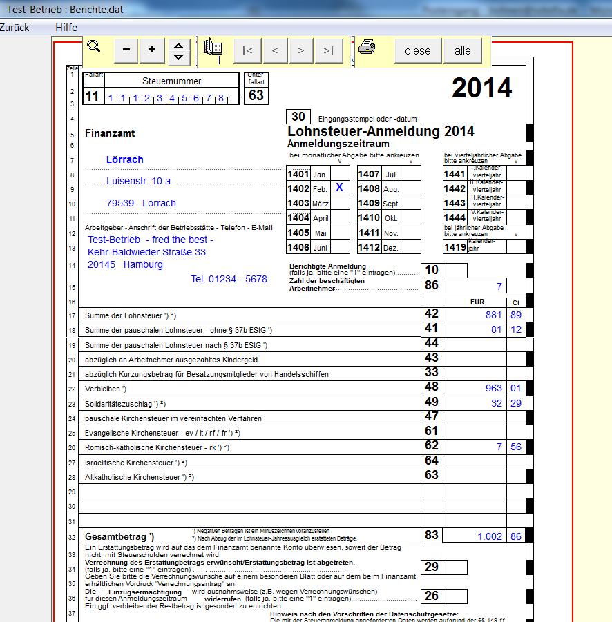 Lohnsteueranmeldung - LohnFix - das Lohnprogramm